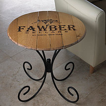 Authentic Barrel Head End Table With Personalized Wine Theme