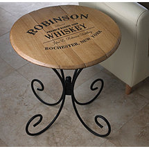 Authentic Barrel Head End Table With Personalized Whiskey Theme