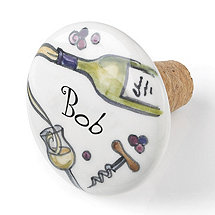Personalized Handpainted White Wine Bottle Stopper