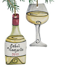 Personalized White Wine Bottle and Wine Glass Ornament (Set of 2)