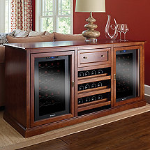 Siena Wine Credenza (Walnut) with Wine Refrigerator PLUS 1 Free Wine Refrigerator