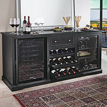 Siena Wine Credenza (Nero) with Wine Refrigerator PLUS 1 Free Wine Refrigerator