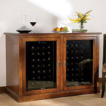 Siena Mezzo Wine Credenza (Walnut) and Two 28 Bottle Touchscreen Wine Refrigerators