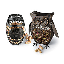 Owl and Wine Barrel Cork Catcher Set