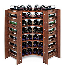Swedish 42 Bottle Curved Corner Wine Rack (Walnut)