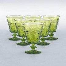 Italian Provenzale Green Short Stem Glasses (Set of 6)