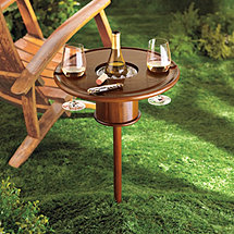 Mahogany Picnic Table with Bottle Cooler