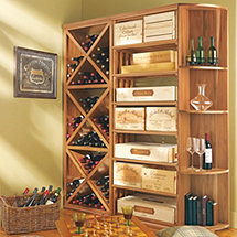 N'FINITY DIY Diamond Cube Rectangular Bin & Quarter Round Shelf Wine Rack Set