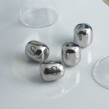 Personalized SPARQ Wine Pearls (Set of 4 Hand Polished Stainless Steel Metal Chillers)