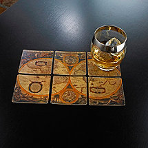 Antique Map Leather Coasters (Set of 6)
