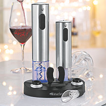 Electric Blue Wine Hub Corkscrew Preserver & Pourer Set