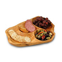 Root Wood Divided Appetizer Tray