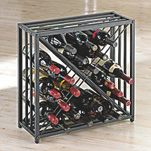 Black Steel X 24 Bottle Wine Rack (Non Stack-able)
