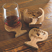 Personalized Bamboo Wine Glass-Shaped Coasters
