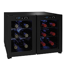 Wine Enthusiast Silent 12 Bottle Dual Door Touchscreen Wine Refrigerator