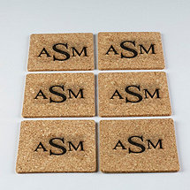 Monogrammed Cork Coasters (Set of 6)