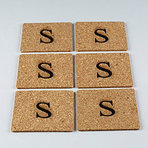 Personalized Initial Cork Coasters (Set of 6)