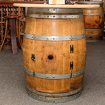 Reclaimed Half Moon Wine Barrel Console