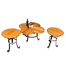 Reclaimed Wine Barrel Coffee Table & Two End Tables Set