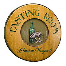 Personalized Reclaimed Wine Barrel Head with Tasting Room and Wine Bottle