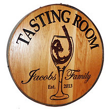 Personalized Reclaimed Wine Barrel Head with Tasting Room and Wine Glass