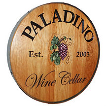 Personalized Reclaimed Wine Barrel Head with Wine Cellar and Grapes