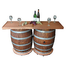 Reclaimed Wine Barrel Folding Bar with Wheels