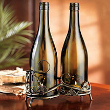 Connoisseur Antique Metal Vine Double Wine Bottle Candle Holder