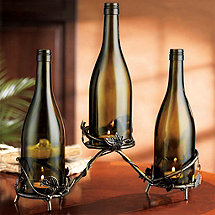 Connoisseur Antique Metal Vine Triple Wine Bottle Candle Holder