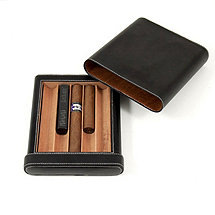 Bey-Berk Black Leather Cedar Cigar Case