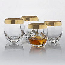 Madison Avenue Gold Band Whiskey Glasses (Set of 4)