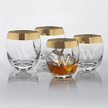 Personalized Madison Avenue Gold Band Whiskey Glasses (Set of 4)