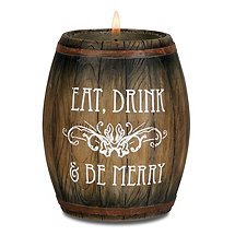 Mini Wine Barrel Tealight Candle Holder (Eat, Drink and Be Merry)
