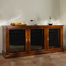 Siena Triple Wine Credenza with Three 28 Bottle Refrigerators (Walnut)