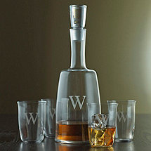 Personalized Fusion Derby Whiskey Decanter & Glasses Set