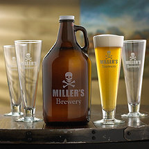 Personalized Skull & Crossbones Growler & Pilsner Glasses