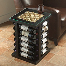 Wine Rack End Table with Cork Kit Top (Black)