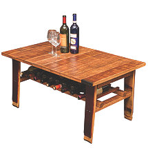 Reclaimed Wine Barrel Stave Coffee Table with Wine Storage