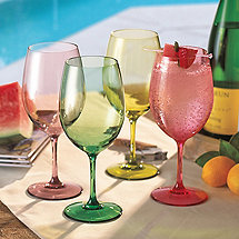 Indoor/Outdoor Mixed Summer Color Wine Glasses (Set of 4)