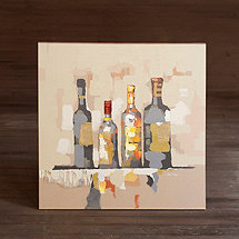 Four Wine Bottles Oil Painting (32 X 32)