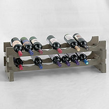 18 Bottle Stackable Wine Rack Kit (Stone Gray)