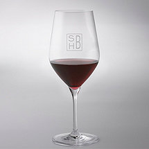 Monogrammed Cube Engraved Fusion Classic Cabernet Wine Glasses (Set of 4)