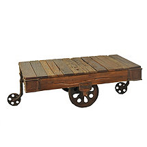 Grizzley Metal Reclaimed Wood and Cast Iron Wheel Coffee Table
