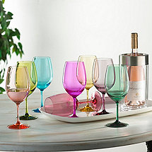 Indoor/Outdoor Mixed Color Wine Glasses and Double Wall Iceless Bottle Chiller