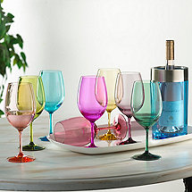Indoor/Outdoor Mixed Color Wine Glasses and Double Wall Iceless Bottle Chiller (Blue)
