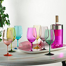 Indoor/Outdoor Mixed Color Wine Glasses and Double Wall Iceless Bottle Chiller (Pink)