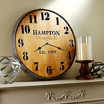 Personalized Wine Barrel Head Wall Clock