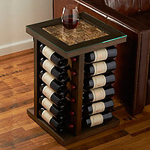 Wine Rack End Table with Cork Kit Top (Brown)