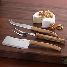 Laguiole 3 Piece Oakwood Cheese Set