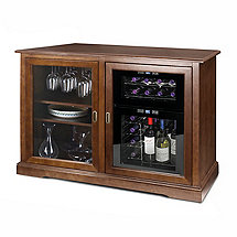 Siena Mezzo Wine Credenza (Walnut) and 24 Bottle Touchscreen Wine Refrigerator